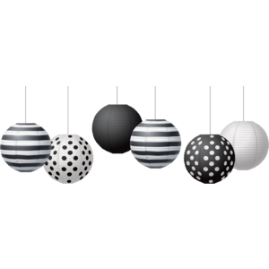 "TCR77488 Black & White 8"" Hanging Paper Lanterns Image"
