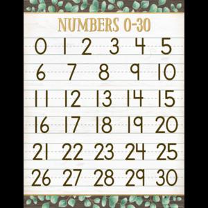 TCR7987 Eucalyptus Numbers 0–30 Chart Image