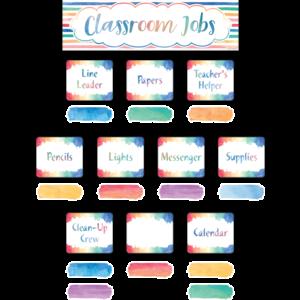TCR8137 Watercolor Classroom Jobs Mini Bulletin Board Image