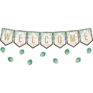 TCR8472 Eucalyptus Pennants Welcome Bulletin Board Image