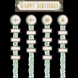 TCR8473 Eucalyptus Happy Birthday Bulletin Board Image
