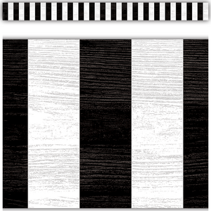 TCR8512 Modern Farmhouse Black Stripes Straight Border Trim Image
