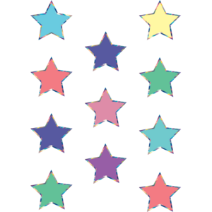 TCR8672 Iridescent Colorful Stars Mini Accents Image