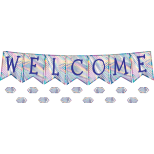 TCR8680 Iridescent Pennants Welcome Bulletin Board Display Image