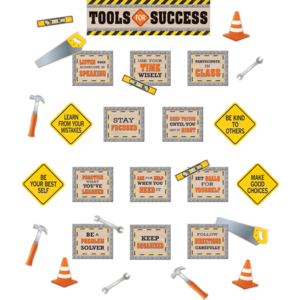 TCR8744 Under Construction Tools for Success Mini Bulletin Board Image