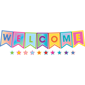 TCR8753 Colorful Vibes Pennants Welcome Bulletin Board Display Image
