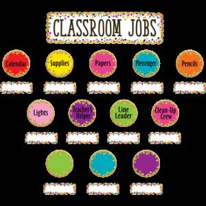 TCR8802 Confetti Classroom Jobs Mini Bulletin Board Image