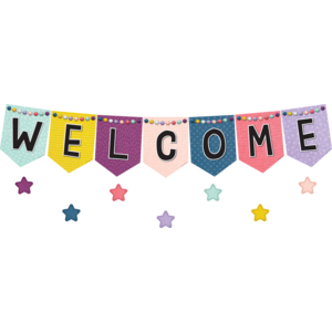 TCR9022 Oh Happy Day Pennants Welcome Bulletin Board Image