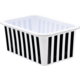 Black and White Stripes Small Plastic Storage Bin 6 Pack Alternate Image A