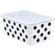 Black Polka dots on White Small Plastic Storage Bin 6 Pack Alternate Image A