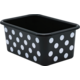 White Polka Dots on Black Small Plastic Storage Bin 6 pack Alternate Image A
