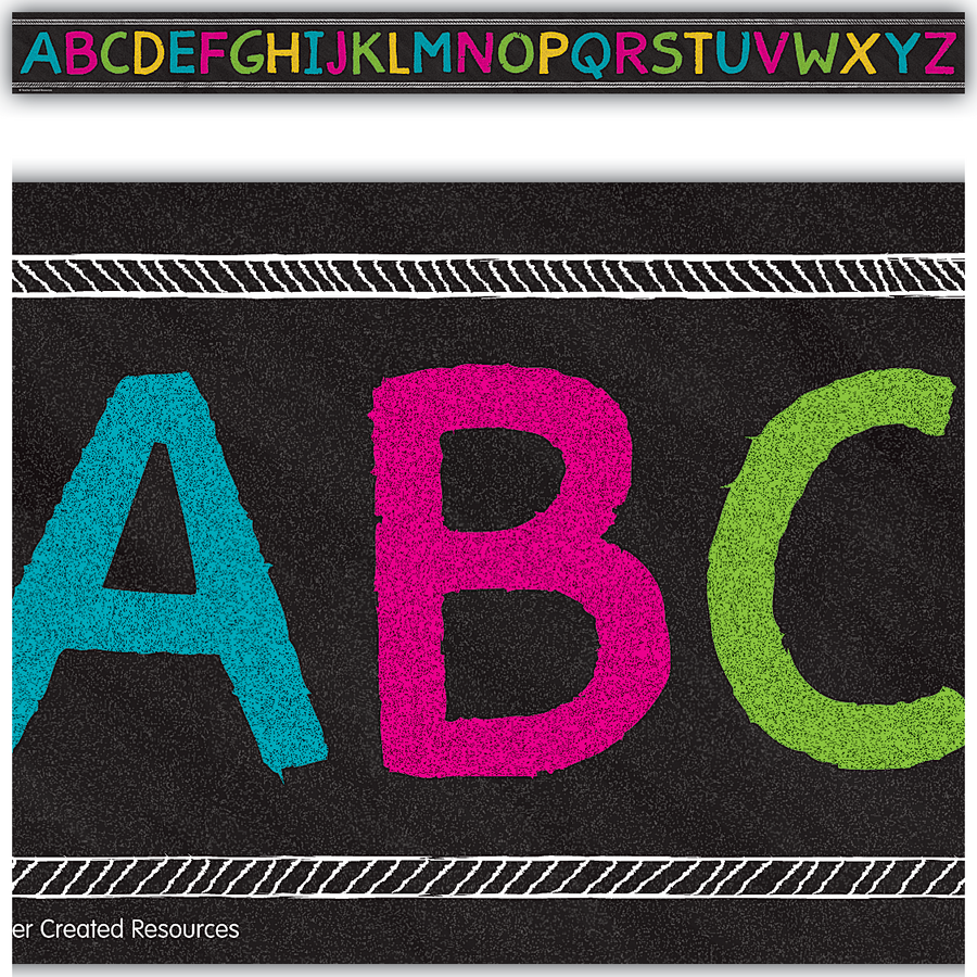 Chalkboard Brights Alphabet Straight Border Trim Tcr3477 Teacher Created Resources