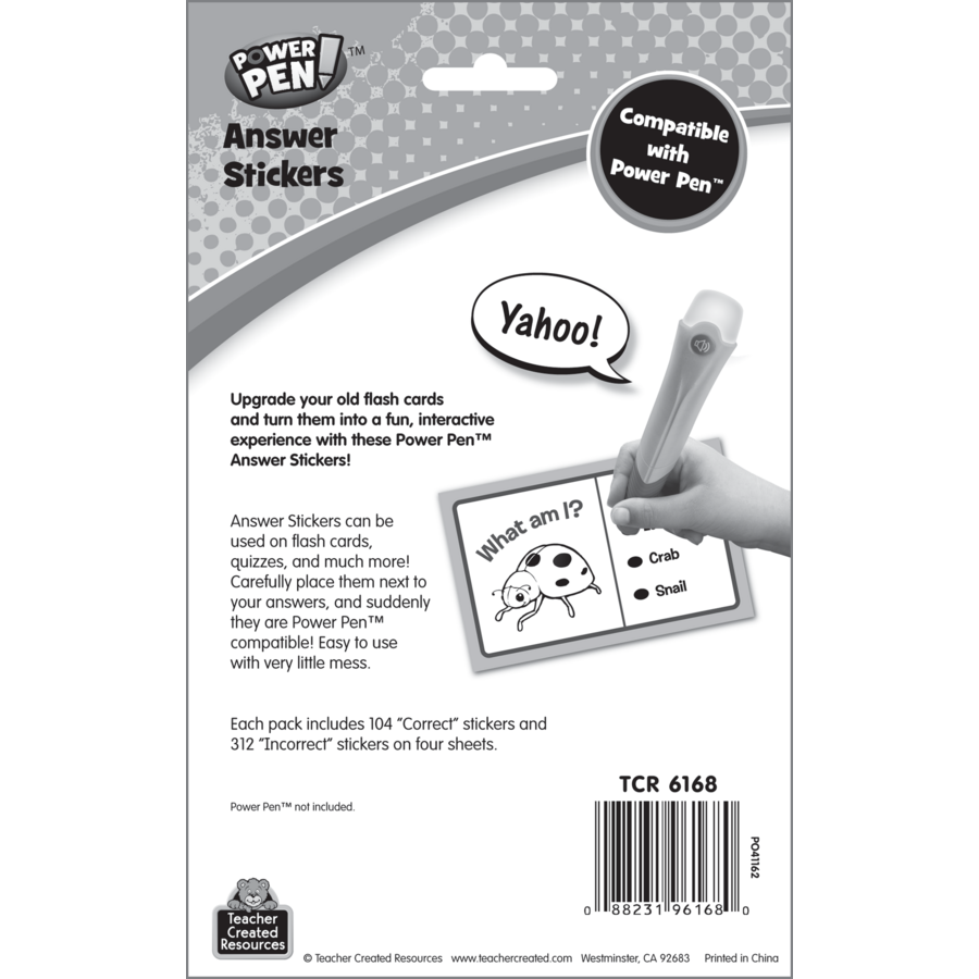 6168 Teacher Created Resources Power Pen Answer Stickers