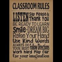 Burlap Classroom Rules Positive Poster