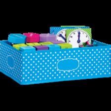 Aqua Polka Dots Storage Bin