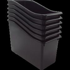 Black Plastic Book Bin 6 Pack