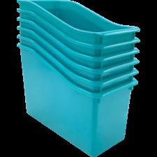 Teal Plastic Book Bin 6 Pack