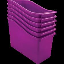 Purple Plastic Book Bin 6 Pack