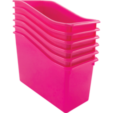 Pink Plastic Book Bin 6 Pack