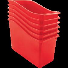 Red Plastic Book Bin 6 Pack