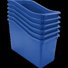 Blue Plastic Book Bin 6 Pack