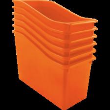 Orange Plastic Book Bin 6 Pack