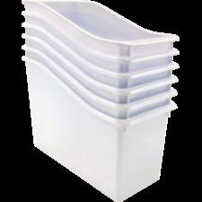 White Plastic Book Bin 6 Pack