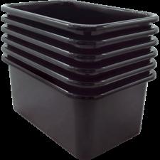 Black Small Plastic Storage Bin 6 Pack