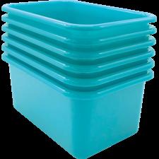 Teal Small Plastic Storage Bin 6 Pack