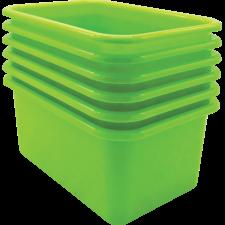 Lime Small Plastic Storage Bin 6 Pack