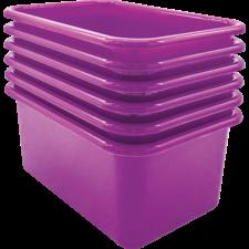 Purple Small Plastic Storage Bin 6 Pack