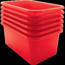 Red Small Plastic Storage Bin 6 Pack