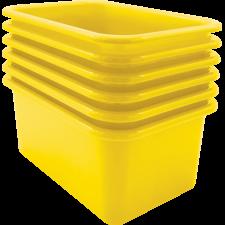 Yellow Small Plastic Storage Bin 6 Pack