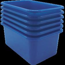 Blue Small Plastic Storage Bin 6 Pack
