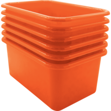 Orange Small Plastic Storage Bin 6 Pack