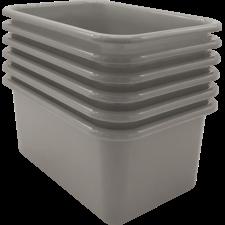 Gray Small Plastic Storage Bin 6 Pack