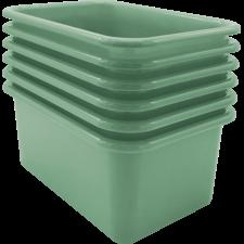 Eucalyptus Green Small Plastic Storage Bin 6 Pack