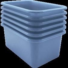 Slate Blue Small Plastic Storage Bin 6 Pack