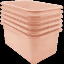 Blush Small Plastic Storage Bin 6 Pack