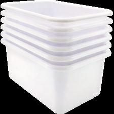 White Small Plastic Storage Bin 6 Pack