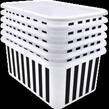 Black and White Stripes Small Plastic Storage Bin 6 Pack