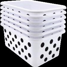 Black Polka dots on White Small Plastic Storage Bin 6 Pack