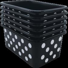 White Polka Dots on Black Small Plastic Storage Bin 6 pack