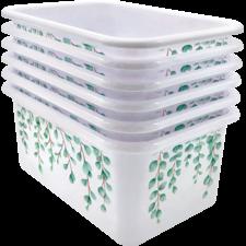 Eucalyptus Small Plastic Storage Bin 6 Pack