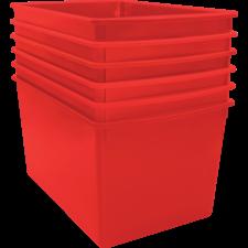 Red Plastic Multi-Purpose Bin 6 Pack