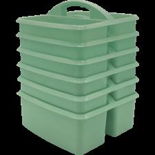 Eucalyptus Green Plastic Storage Caddy 6 Pack