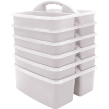 White Plastic Storage Caddy 6 Pack