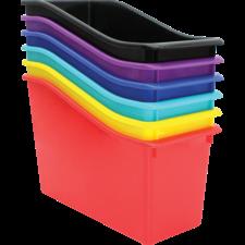 Bold Colors Plastic Book Bins Set of 6
