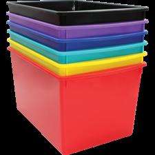 Bold Colors Plastic Multi-Purpose Bins Set of 6