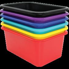 Bold Colors Small Plastic Storage Bins Set of 6